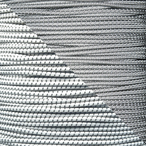 White - 1/8 Shock Cord with Reflective Tracers