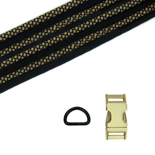 Dog Collar Kit - Gold Diamond / Black