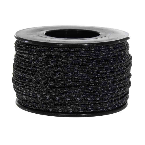 Black Micro Cord with Reflective Tracers - 125 Feet