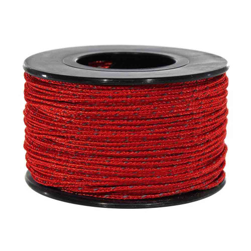 Imperial Red Micro Cord with Reflective Tracers - 125 Feet