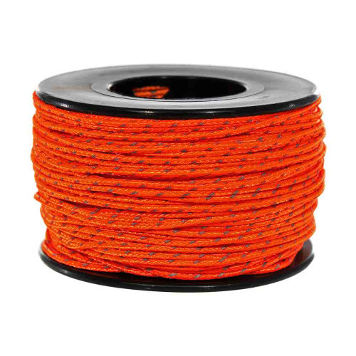 Neon Orange Micro Cord with Reflective Tracers - 125 Feet