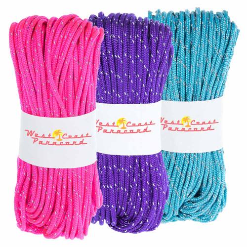 3 Pack 95 Reflective Cord - Acid Purple Neon Pink Neon Turquoise
