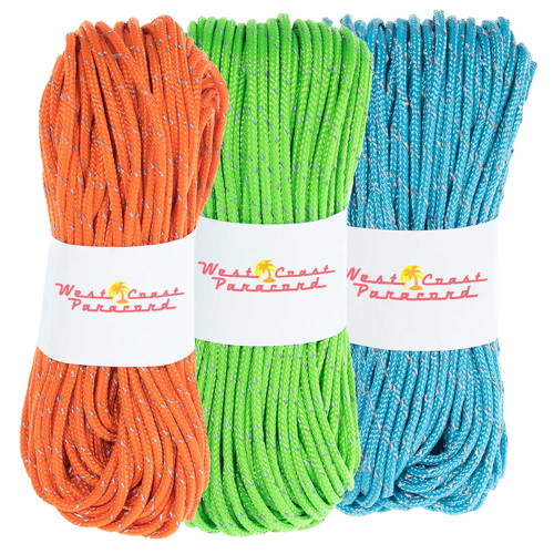3 Pack 95 Reflective Cord - Neon Green Neon Orange Neon Turquoise