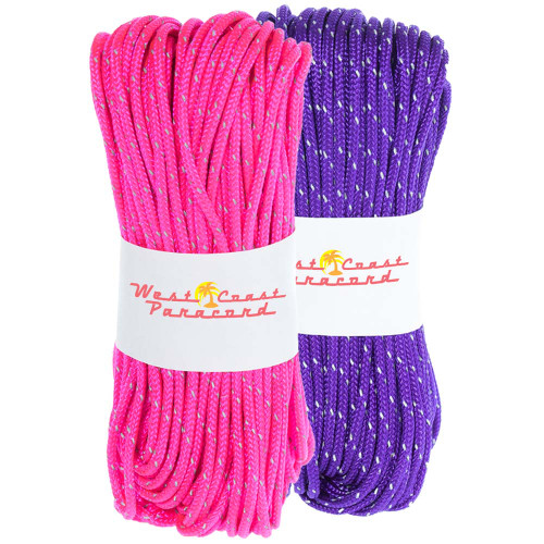 2 Pack 95 Reflective Cord - 20M each - Acid Purple and Neon Pink