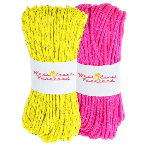 2 Pack 95 Reflective Cord - 20M each - Neon Pink and Neon Yellow