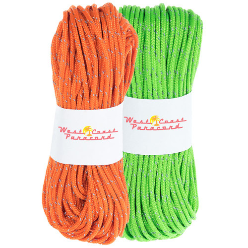 2 Pack 95 Reflective Cord - 20M each - Neon Green and Neon Orange