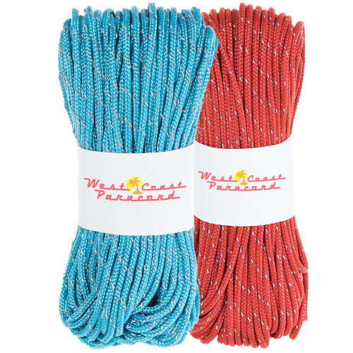 2 Pack 95 Reflective Cord - 20M each - Neon Turquoise and Red