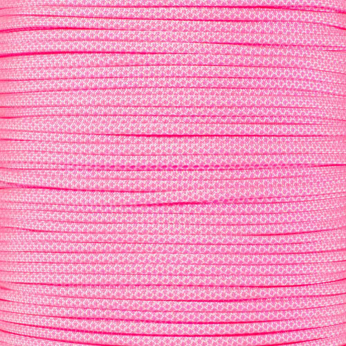 White with Neon Pink Diamonds - 550 Paracord - 100 Feet