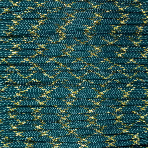 Teal with Gold Metallic X - 550 Paracord