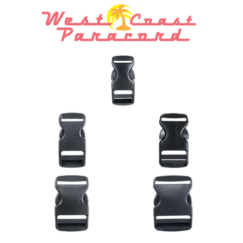 Flat Black Plastic Side-Release Buckles - Multiple Diameters