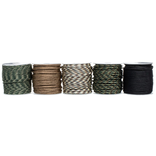 5 Spools of 100 Feet of 550 Polyester Paracord - Basic Camo