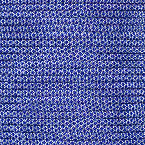 Silver Gray with Electric Blue Diamonds - 550 Paracord - 100 Feet