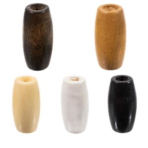 Oval Wooden Beads - 6 MM Hole - 22 Pieces