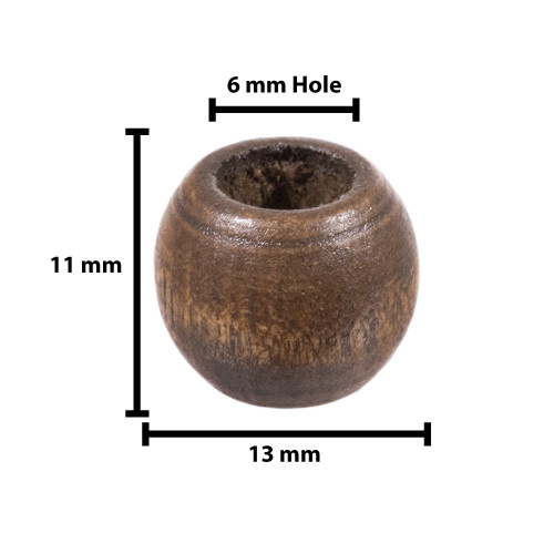 Barrel Style Wooden Beads - 6 MM Hole - 18 Pieces