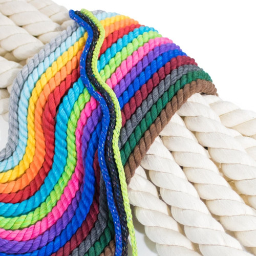 3-Strand 1/4 inch Twisted Cotton Rope - Multiple Colors