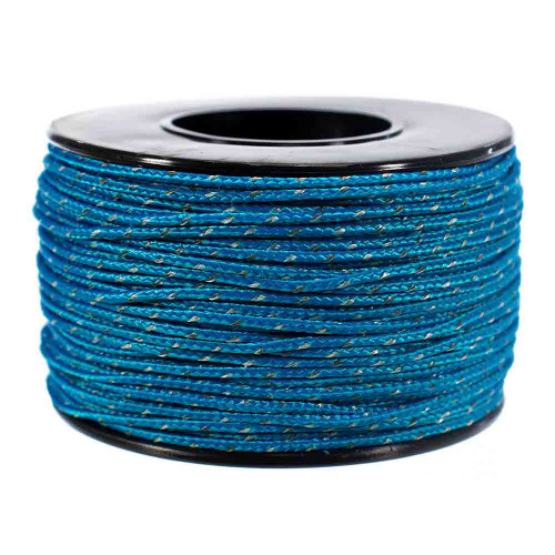 Blue Micro Cord with Reflective Tracers - 125 Feet