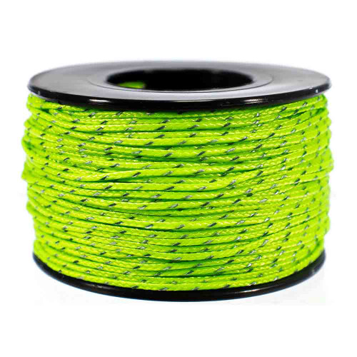 Neon Green Micro Cord with Reflective Tracers - 125 Feet