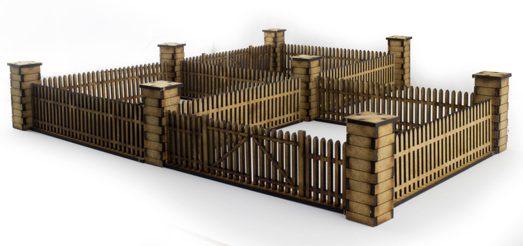 Picket Fence with Gates and Pillars