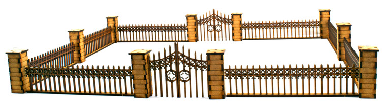 Gothic Fence with Gates and Pillars
