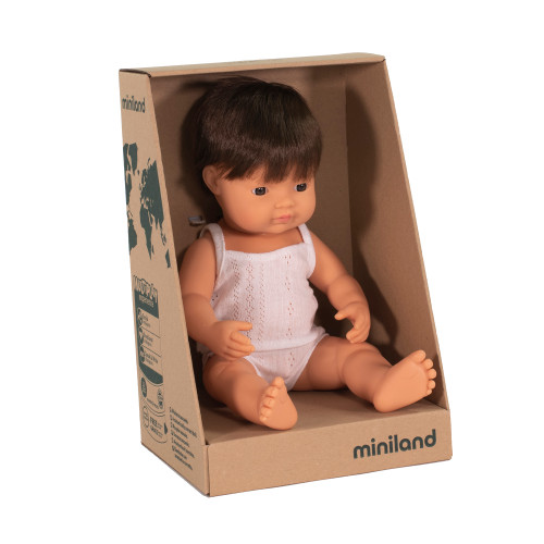 Miniland Caucasian Boy Brown Hair 38cm