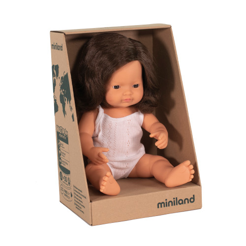 Miniland Caucasian Girl Brown Hair 38cm