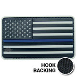 Black and white Thin Blue Line PVC American flag patch with hook backing