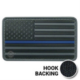PVC Black and gray Thin Blue Line American flag patch
