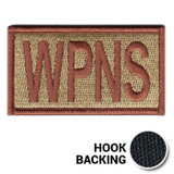 Weapons (WPNS) duty identifier with bagby green background and spice brown lettering and details, front view