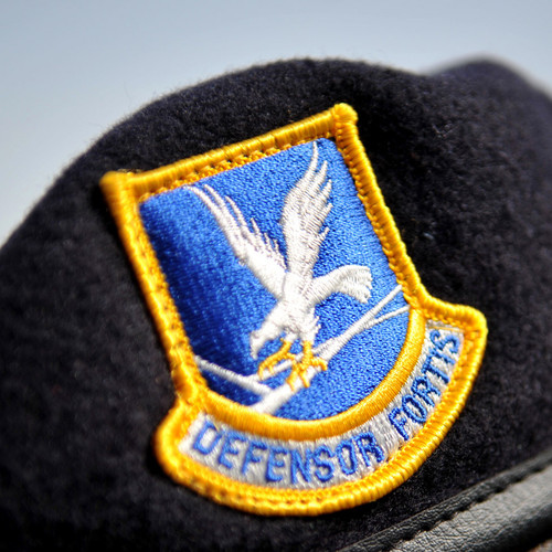 Defensor Fortis emblem on USAF Security Forces Beret.
