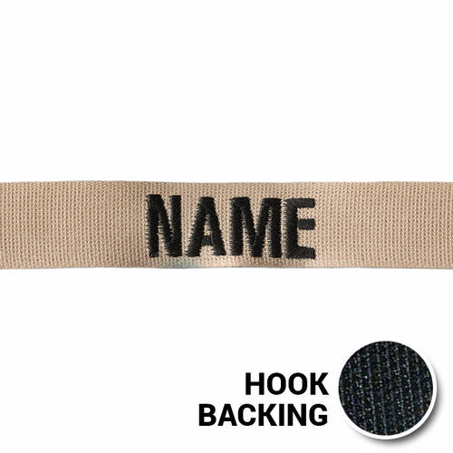 USAF Desert Tan Name Tape with Hook Back from Kel-Lac