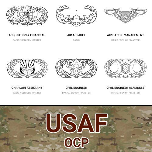 USAF Occupational Career Badges (AFSC) in Multicam OCP