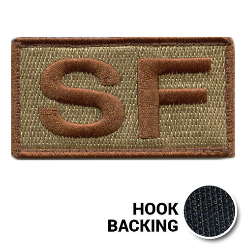 Embroidered Duty Identifier Tab - SF - OCP, Spice Brown Border (w/ Hook Back)