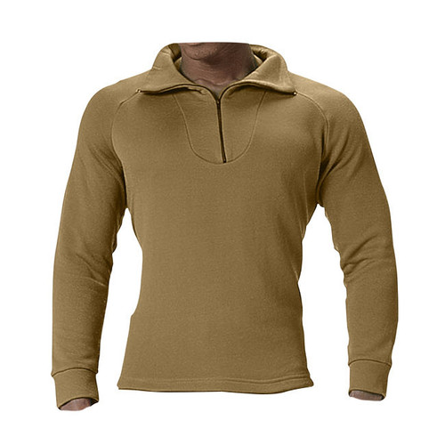Rothco ECWCS Poly Zip Collar Shirt in Coyote Brown, Front View