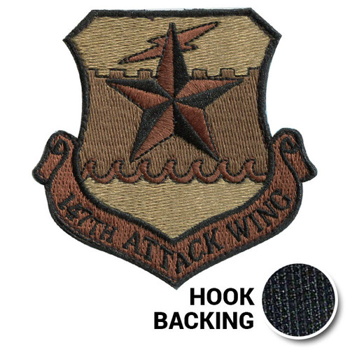 147th Attack Wing, Embroidered - OCP (w/ Hook Back)