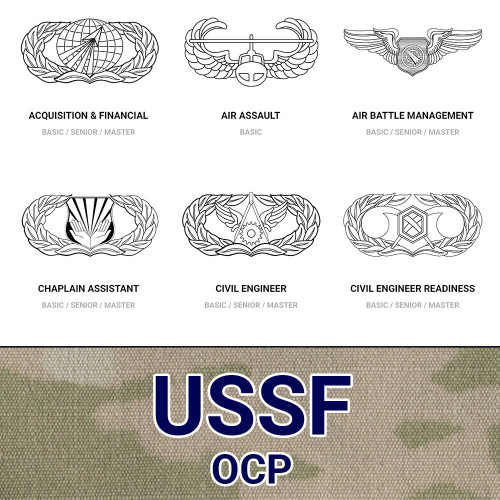 USSF Occupational Career Badges (AFSC) in Tri-Color OCP
