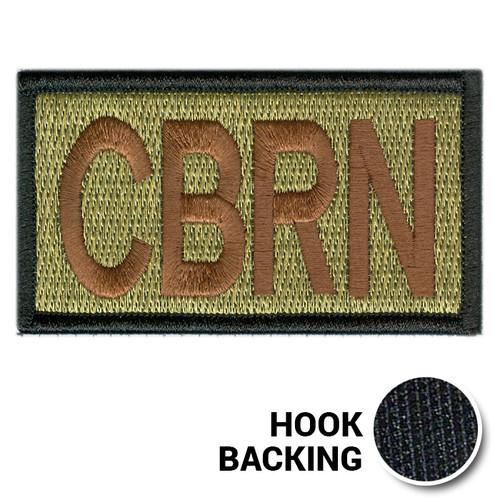 Embroidered Duty Identifier Tab - CBRN - OCP, Black Border (w/ Hook Back)