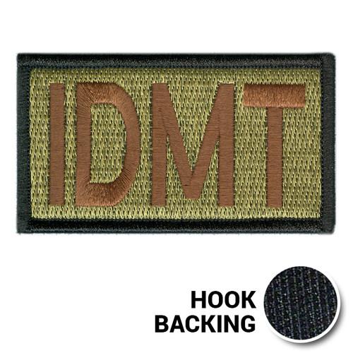 Embroidered Duty Identifier Tab - IDMT - OCP, Black Border (w/ Hook Back)