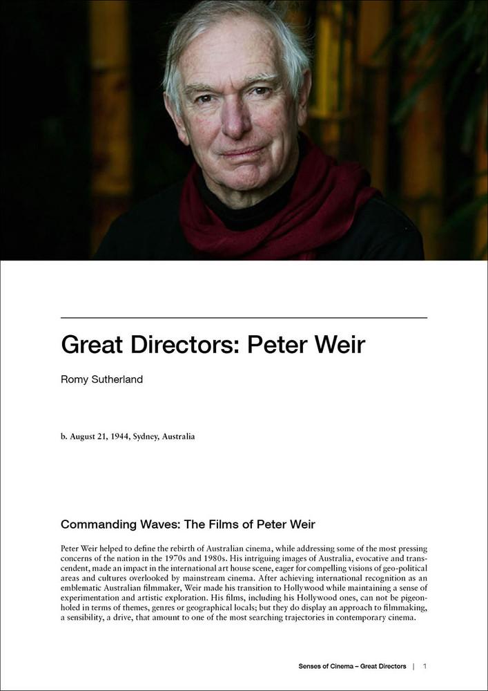 Great Directors:  Peter Weir