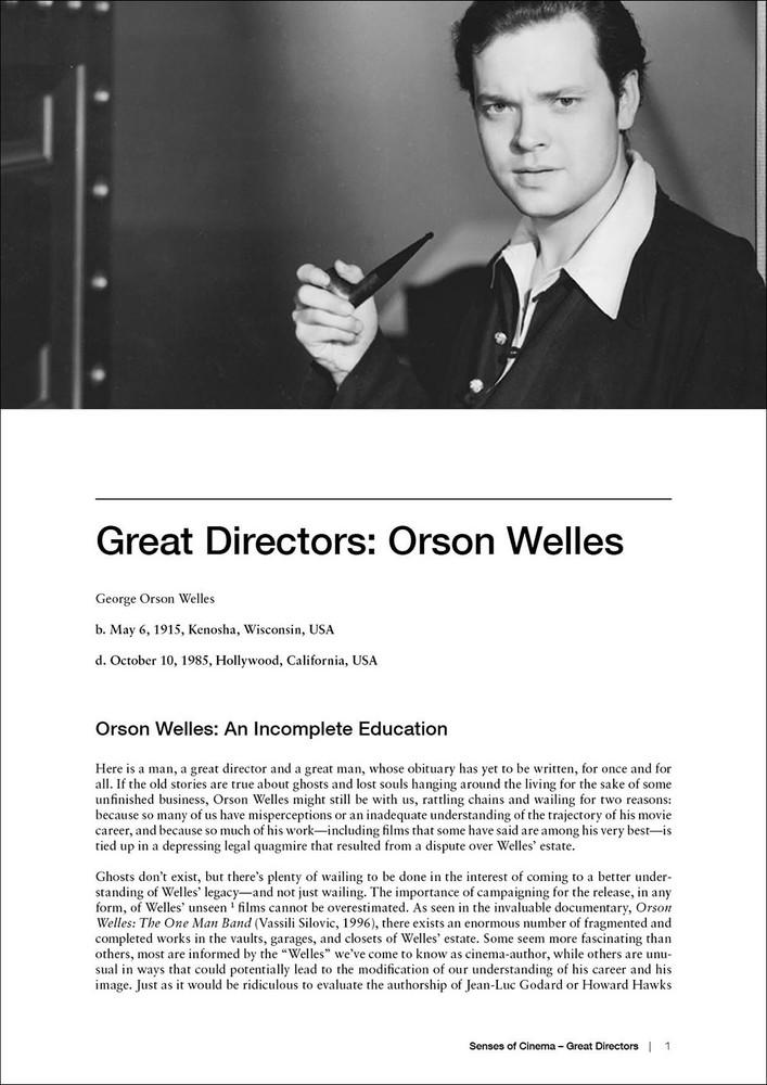 Great Directors:  Orson Welles