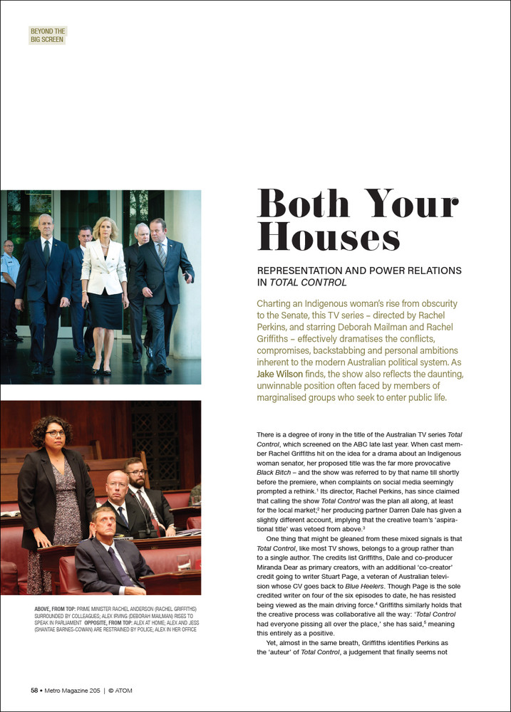 Both Your Houses: Representation and Power Relations in 'Total Control'
