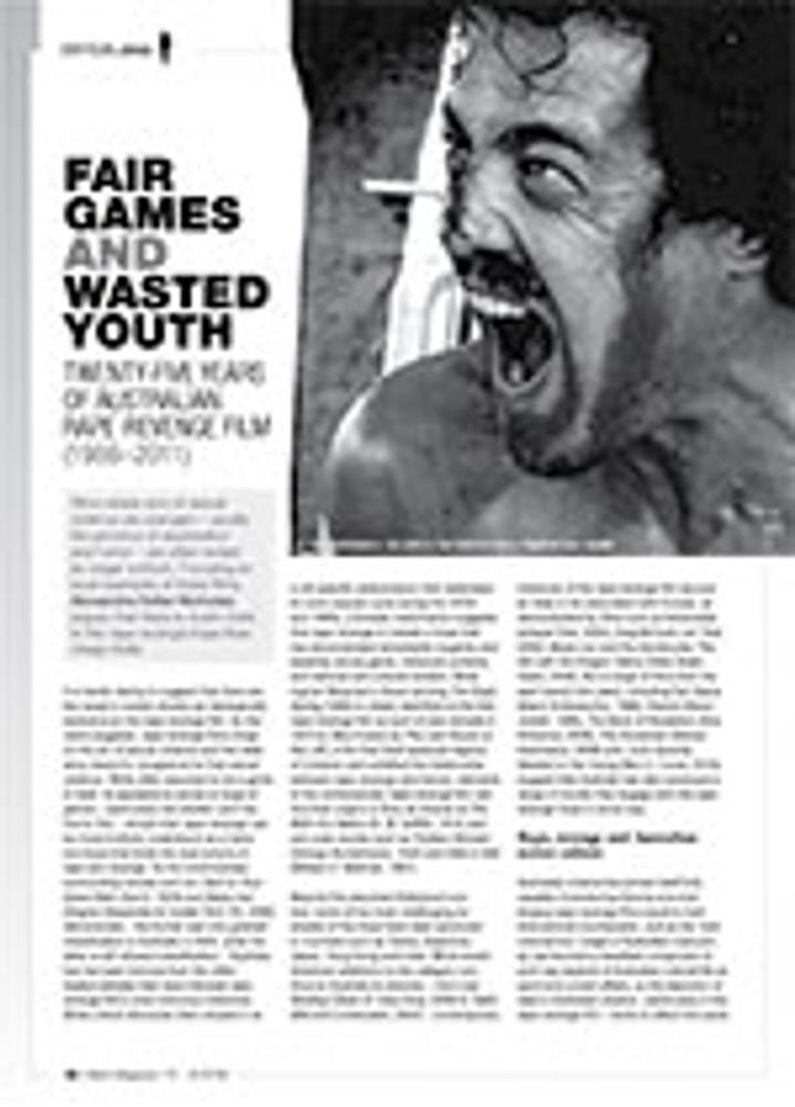 Fair Games and Wasted Youth: Twenty-five Years of Australian Rape-Revenge Film (1986