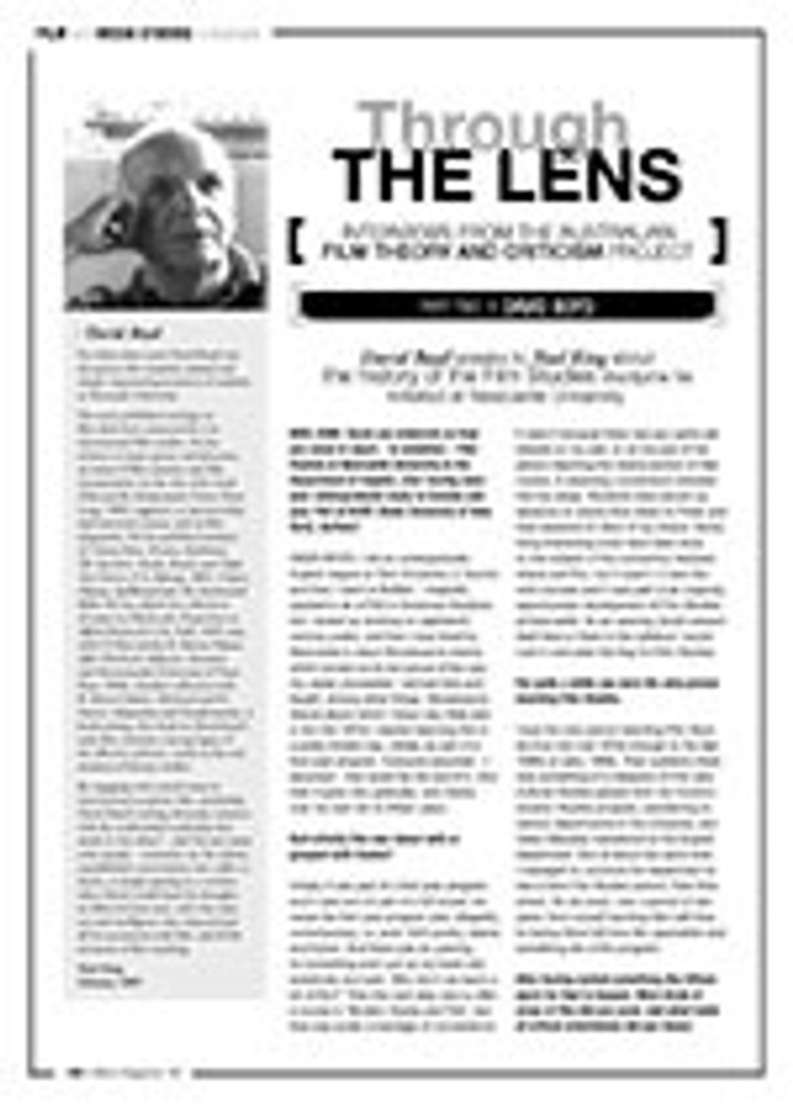 Through The Lens Interviews From The Australian Film Theory And Criticism Project David Boyd The Education Shop