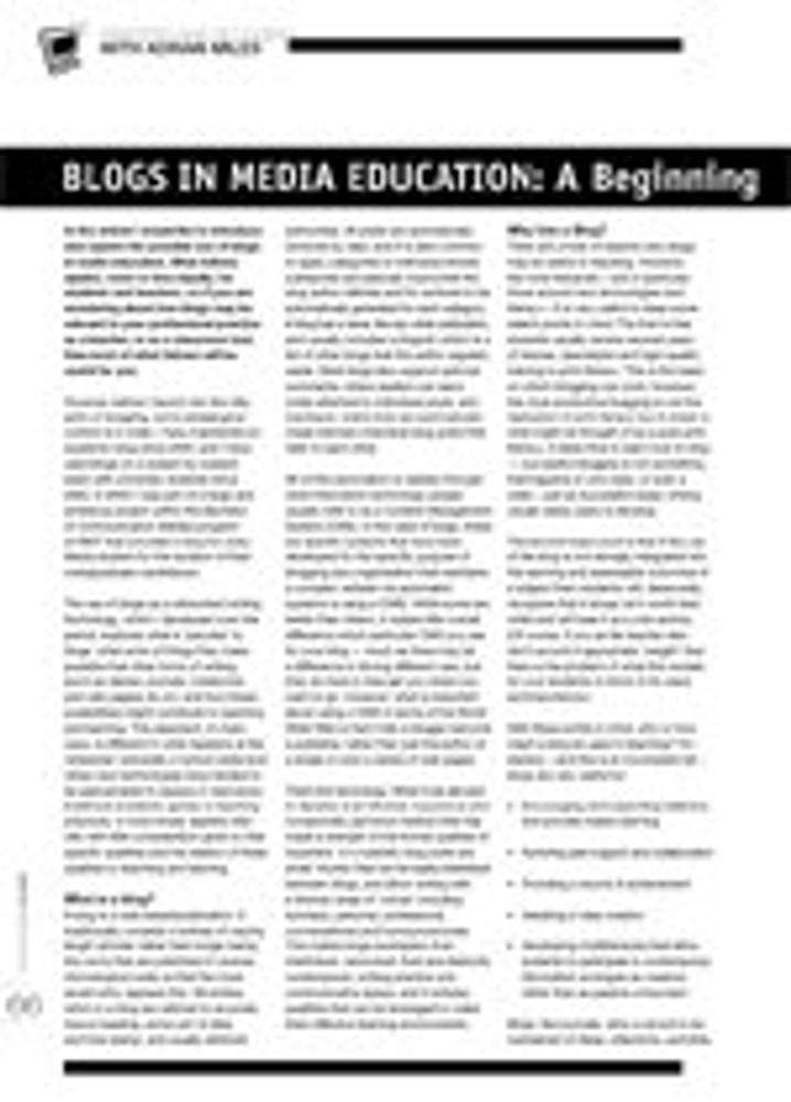 Blogs in Media Education: A Beginning