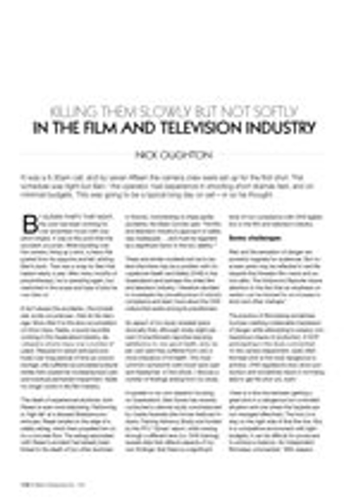 Killing Them Slowly But Not Softly in the Film and Television Industry