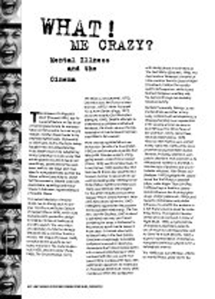What! Me Crazy? Mental Illness and the Cinema