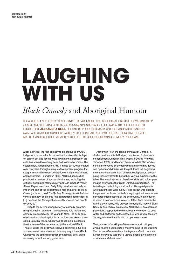 Laughing with Us: Black Comedy and Aboriginal Humour