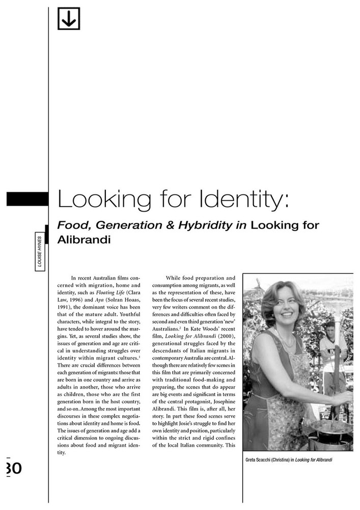 Looking for Identity: Food, Generation and Hybridity in 'Looking for Alibrandi'