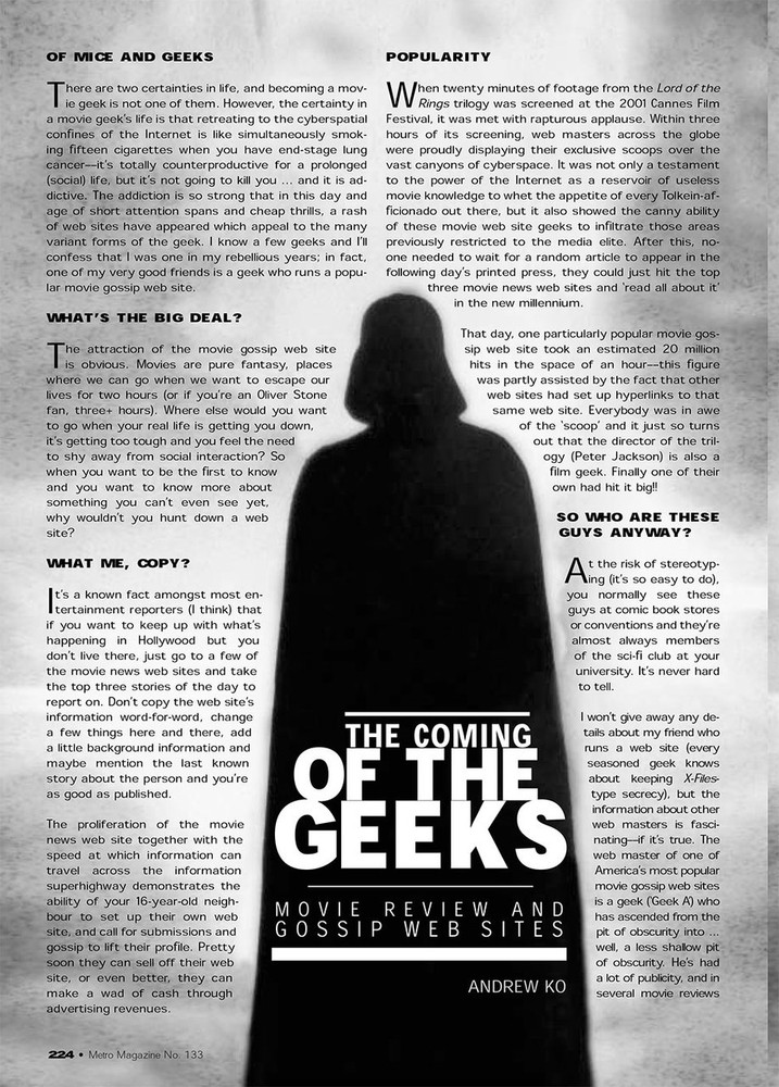 The Coming of the Geeks: Movie Review and Gossip Web Sites