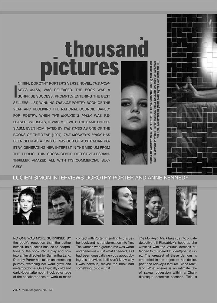 A Thousand Pictures: Lucien Simon Interviews Dorothy Porter and Anne Kennedy