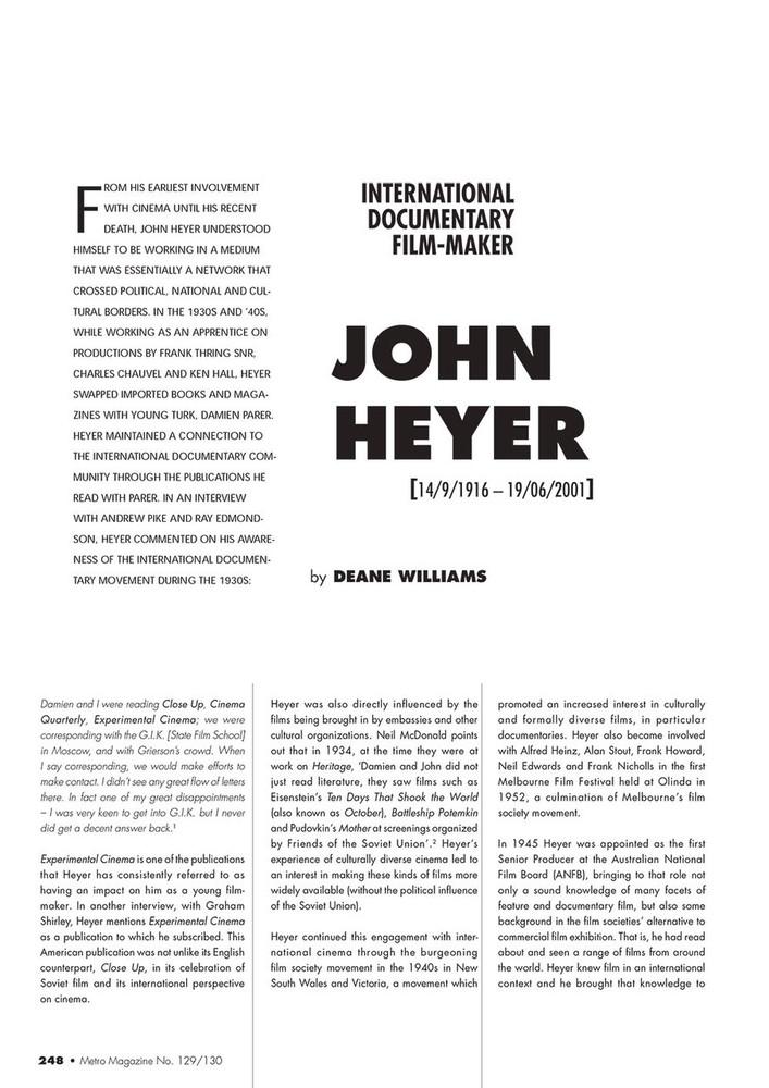 John Heyer: International Documentary Filmmaker